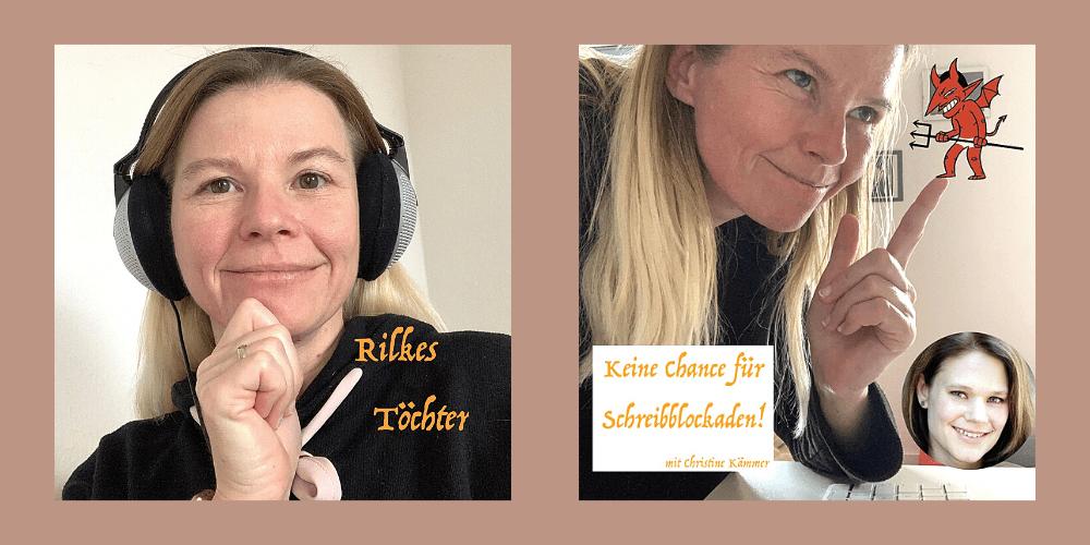 logbeitrag zum Thema Schreibblockaden, einer Episode des Podcast Rilkes Töchter. Bild zeigt die Autorin Sandra Andres im Gespräch mit Schreibtrainerin Christine Kämmer.